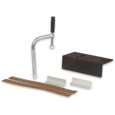 Having made your investment in a Sjobergs Nordic Plus, Hobby Plus, Duo, Junior or Senior workbench, this kit will help you reap the benefits and maximise the usefulness of your new bench. The kit comprises an ST03 Holdfast, UA-13 Universal Anvil, JC-11 Jaw Cushions and a pair of aluminium vice jaw liners. The ST03 Holdfast slips into any dog hole in the bench top for clamping items horizontally. Alternatively, use it in the bench legs for clamping large boards or doors on edge. It swivels 360° and slides vertically to accommodate different stock thicknesses. The Universal Anvil fits into one of dog holes along the edge your bench to protect the bench top from heavy hammering and metal work. The jaw protectors have a self-adhesive backing. They are a resilient cork and rubber composition, which provides a firm grip on a workpiece. They protect both the vice jaws and prevent delicate pieces from marring. The aluminium jaw liners protect your vice jaw from bruising when clamping metal workpieces.
