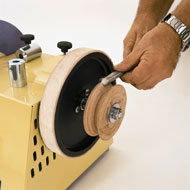 Scheppach Tiger Profiled Leather Honing Wheel is an accessory for the Scheppach Tiger Range. The grind wheel is 200 x 30mm therefore designed for polishing gouges and V tool surfaces