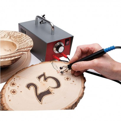 Peter Child Pyrography Machine in action